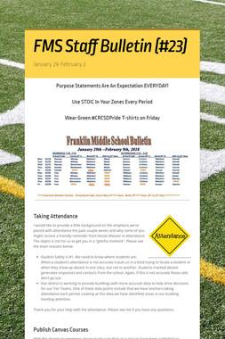FMS Staff Bulletin (#23)