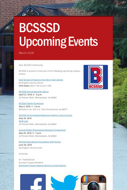 BCSSSD Upcoming Events