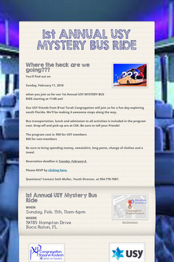 1st ANNUAL USY MYSTERY BUS RIDE