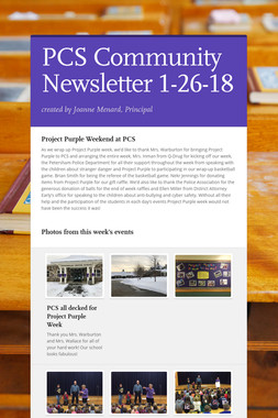 PCS Community Newsletter 1-26-18
