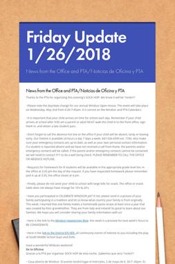 Friday Update 1/26/2018