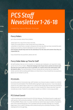 PCS Staff Newsletter 1-26-18
