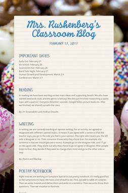 Mrs. Rushenberg's Classroom Blog