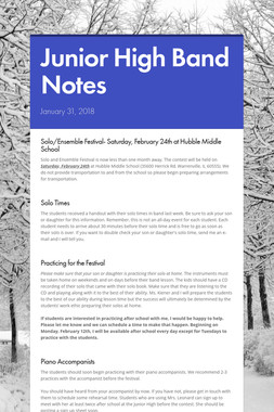 Junior High Band Notes