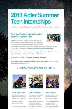 2018 Adler Summer Teen Internships