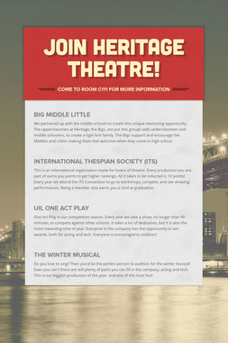 Join Heritage Theatre!
