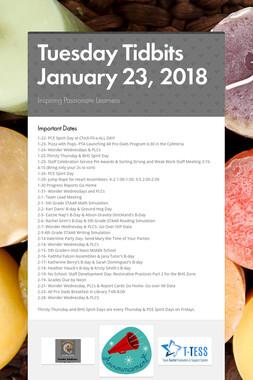 Tuesday Tidbits January 23, 2018