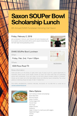 Saxon SOUPer Bowl Scholarship Lunch