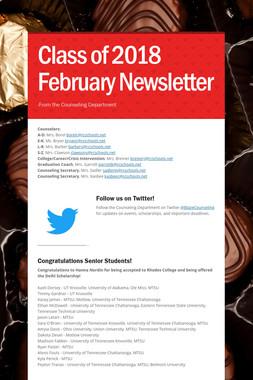 Class of 2018 February Newsletter