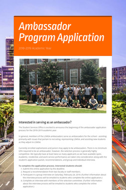 Ambassador Program Application
