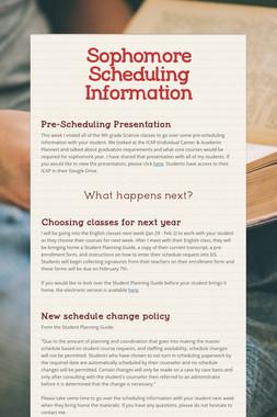 Sophomore Scheduling Information