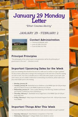 January 29 Monday Letter