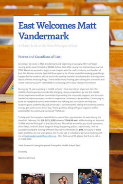 East Welcomes Matt Vandermark
