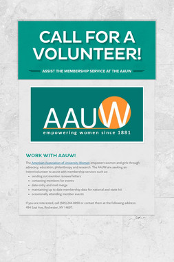 Call for A Volunteer!
