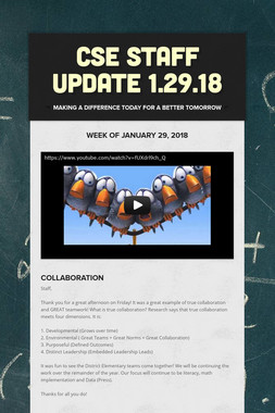 CSE STAFF UPDATE 1.29.18