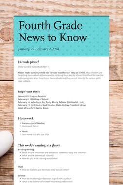 Fourth Grade News to Know