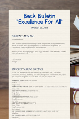 """Beck Bulletin  """"Excellence For All"""""""