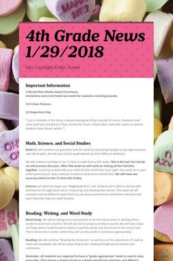 4th Grade News 1/29/2018