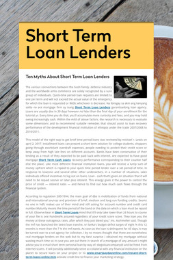 Short Term Loan Lenders