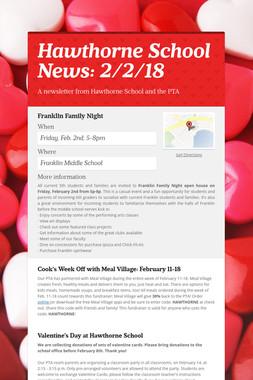 Hawthorne School News: 2/2/18