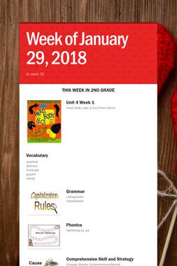 Week of  January 29, 2018