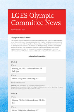 LGES Olympic Committee News