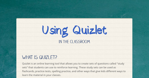 Using Quizlet | Smore Newsletters