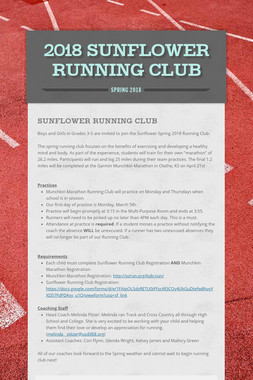 2018 Sunflower Running Club