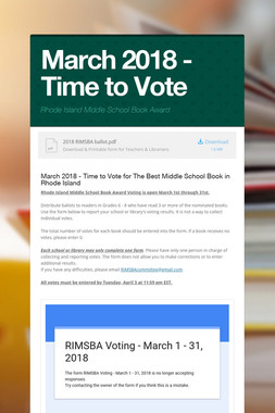 March 2018 - Time to Vote