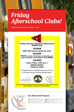Friday Afterschool Clubs!
