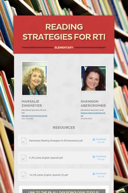 Reading Strategies for RtI