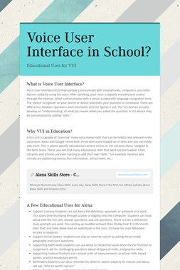 Voice User Interface in School?