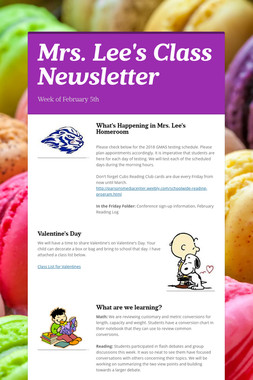 Mrs. Lee's Class Newsletter