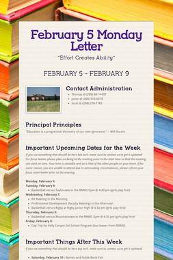 February 5 Monday Letter