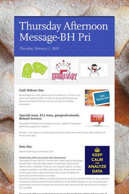 Thursday Afternoon Message-BH Pri