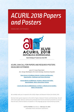 ACURIL 2018 Papers and Posters