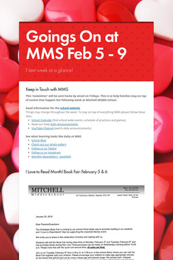 Goings On at MMS Feb 5 - 9