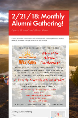 2/21/18: Monthly Alumni Gathering!