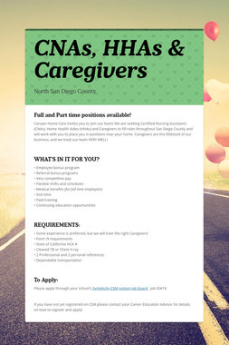 CNAs, HHAs & Caregivers