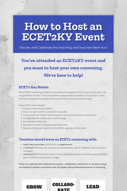 How to Host an ECET2KY Event
