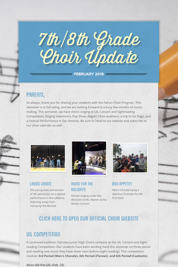 7th/8th Grade Choir Update