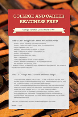 COLLEGE AND CAREER READINESS PREP