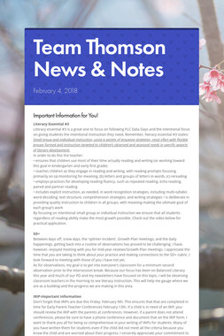 Team Thomson News & Notes