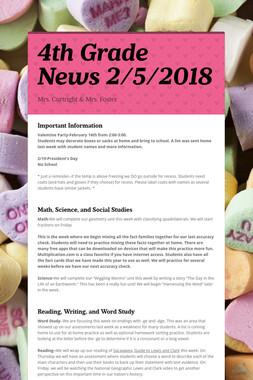 4th Grade News 2/5/2018