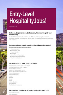 Entry-Level Hospitality Jobs!