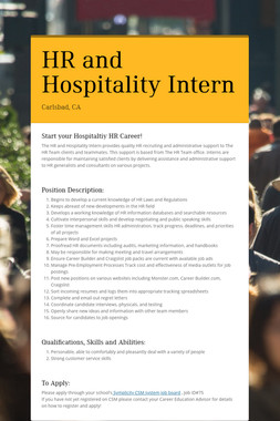 HR and Hospitality Intern