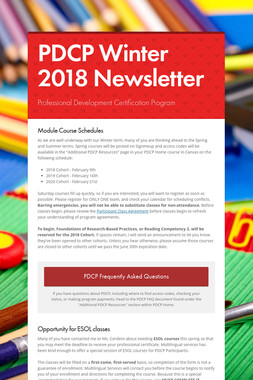PDCP Winter 2018 Newsletter