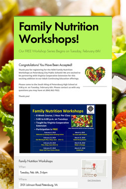 Family Nutrition Workshops!
