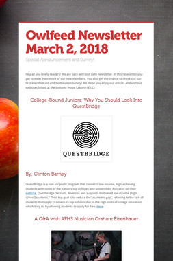 Owlfeed Newsletter March 2, 2018