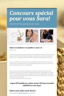 Concours spécial pour vous Sara!